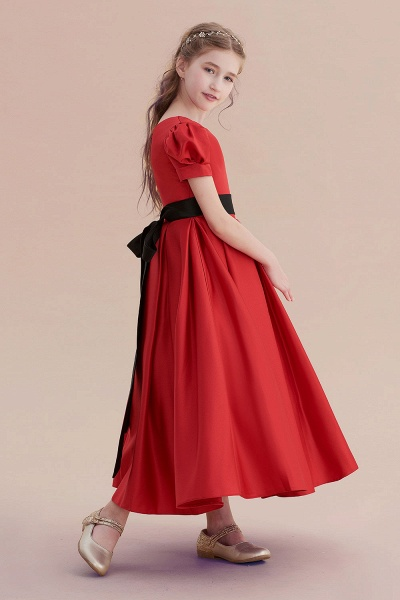 Awesome Short Sleeve A-line Satin Flower Girl Dress_6