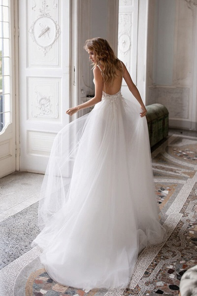 Spaghetti Strap Lace Tulle A-line Wedding Dress_3