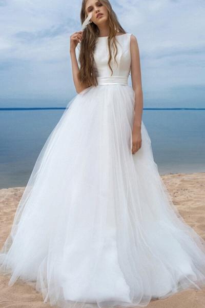 Chapel Train Satin Tulle A-line Wedding Dress_1
