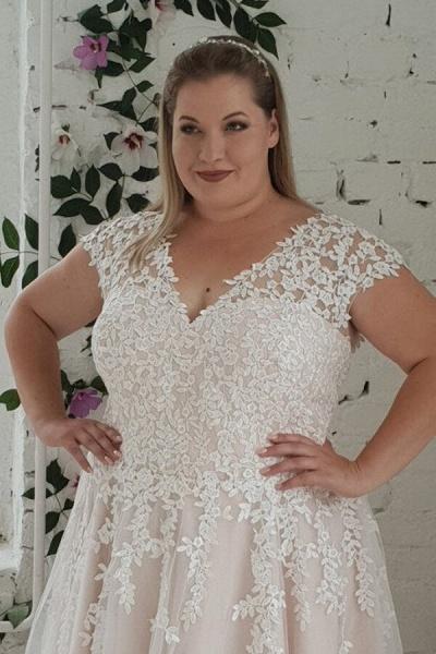 Plus Size Lace-up Short Sleeve A-line Wedding Dress_4