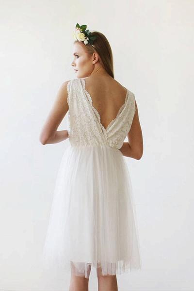 V-neck Lace Tulle Knee Length Wedding Dress_6