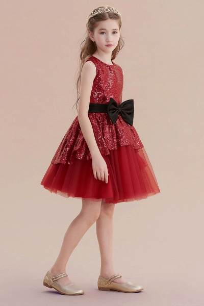Bows Sequins Tulle A-line Flower Girl Dress_5