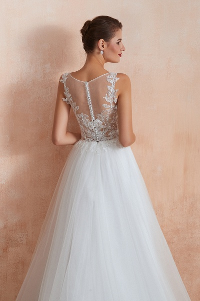 Graceful Sequins Tulle A-line Wedding Dress_10