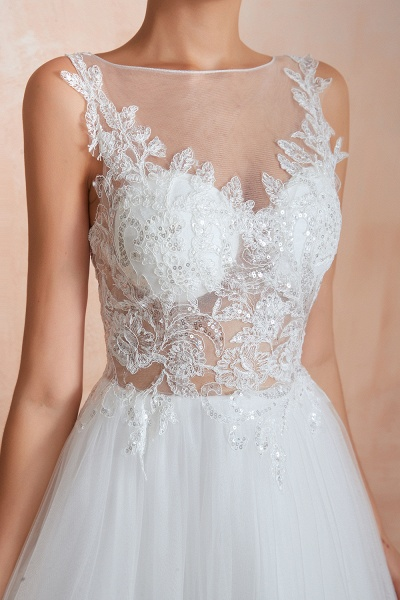 Graceful Sequins Tulle A-line Wedding Dress_11