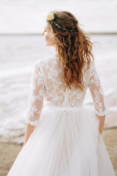 Modest V-neck Lace A-line Tulle Wedding Dress_8
