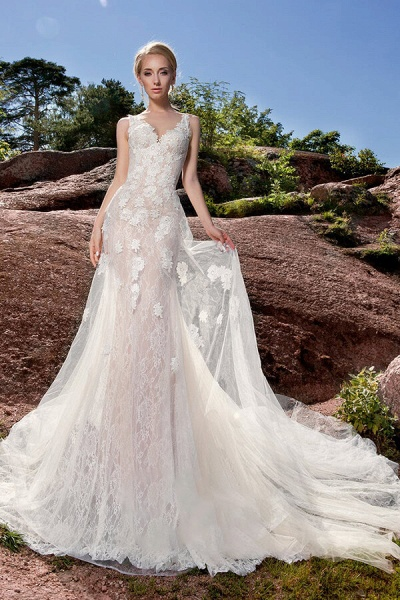 Appliques Tulle Chapel Train Mermaid Wedding Dress_1