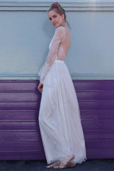 Open Back Long Sleeve Lace A-line Wedding Dress_5