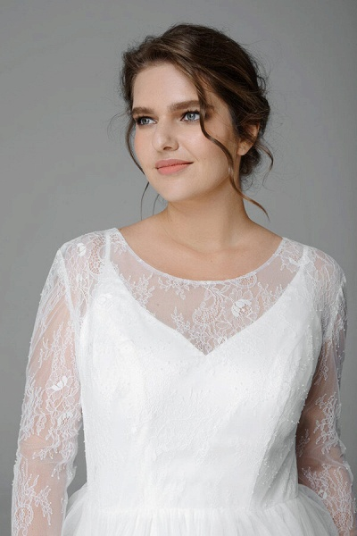 Plus Size Long Sleeve Lace Tulle Wedding Dress_5