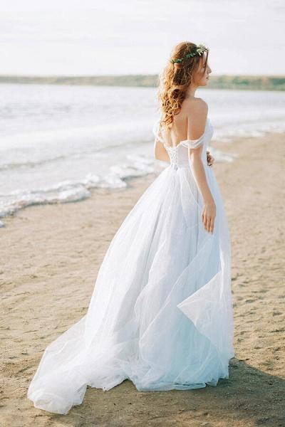 Elegant Court Train Lace Tulle Wedding Dress_3