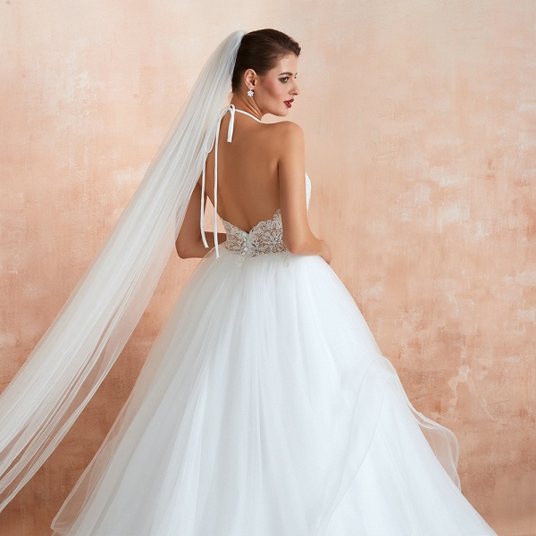 Halter Open Back Appliques Tulle Wedding Dress_10