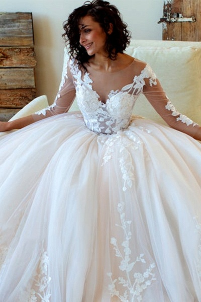 Lace-up Appliques Tulle Ball Gown Wedding Dress_4