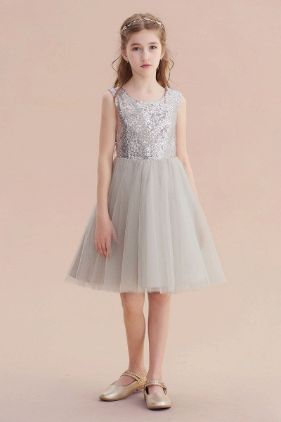 Elegant Sequins Tulle A-line Flower Girl Dress_6