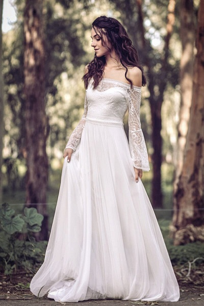 Off-the-shoulder Lace Chiffon A-line Wedding Dress_1