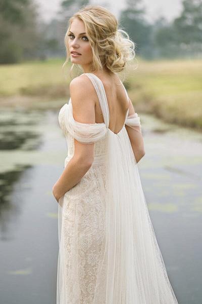 Best Cold-shoulder Lace Tulle Sheath Wedding Dress_5