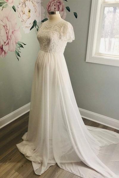 Awesome Short Sleeve Lace Chiffon Wedding Dress_3
