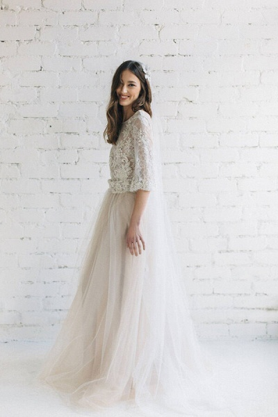 Eye-catching Lace Tulle Two Piece Wedding Dress_3