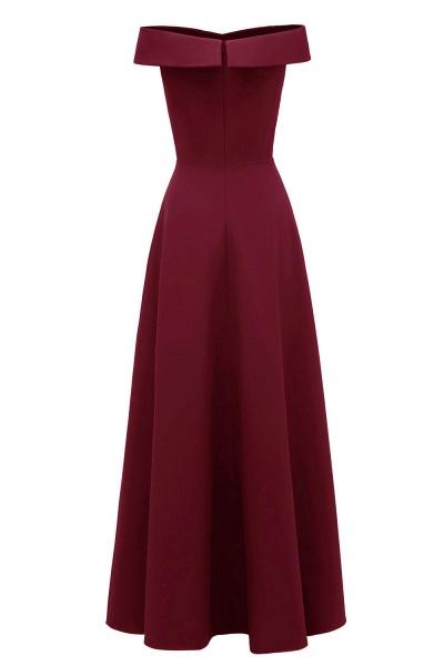 Women Simple Off-the-shoulder Bridesmaid Party Dress Long Burgundy Dress_15