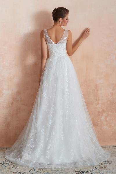Elegant V-neck Lace Tulle A-line Wedding Dress_3