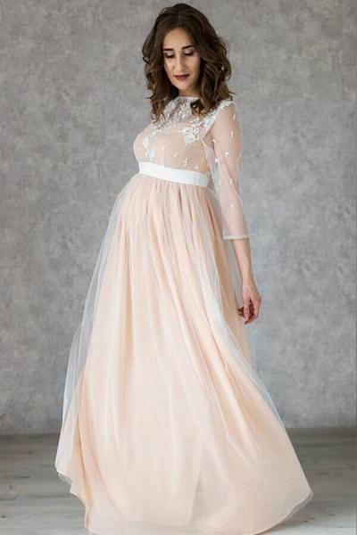 Graceful Applique Floor Length Tulle Wedding Dress_6