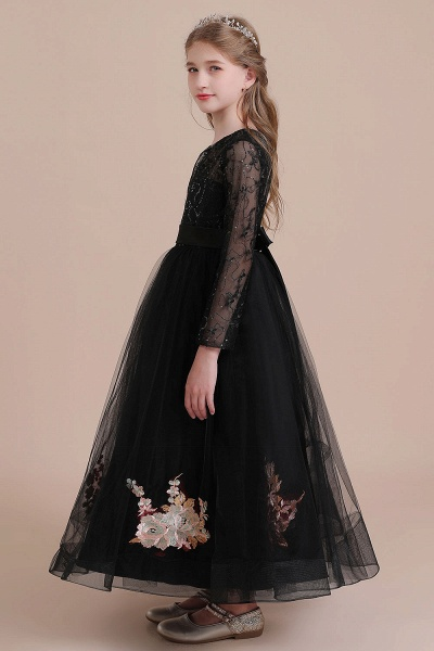 Embroidered Long Sleeve Tulle Flower Girl Dress_9