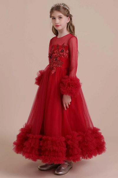 Long Sleeve Applique Tulle A-line Flower Girl Dress_5