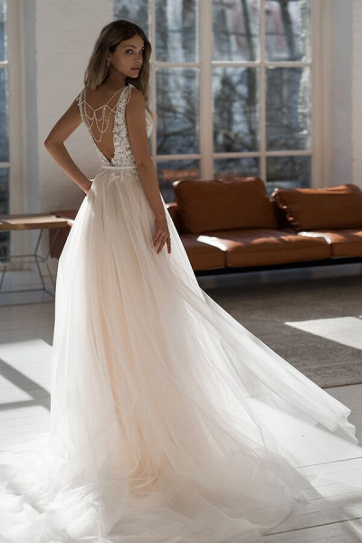 Graceful Applique Tulle A-line Wedding Dress_3