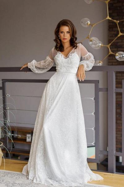 Long Sleeve V-neck Lace Tulle A-line Wedding Dress_10