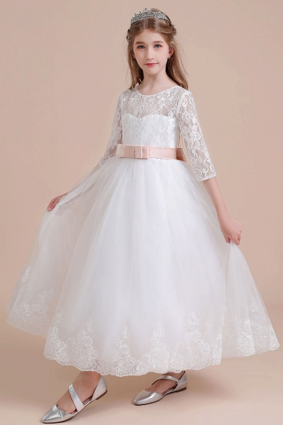 Illusion Lace Tulle Ankle Length Flower Girl Dress_9