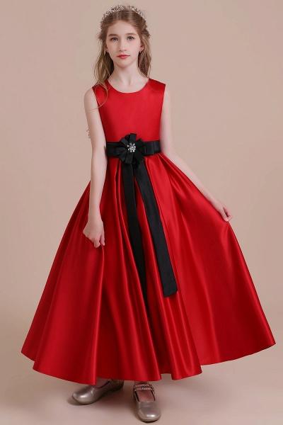 Elegant Satin A-line Flower Girl Dress_4