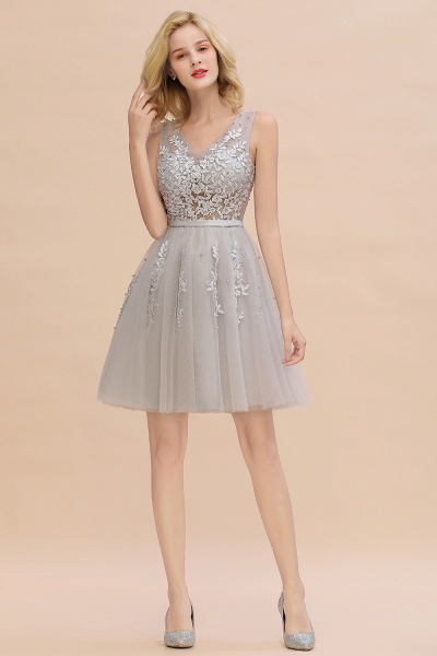 Sexy V-neck Lace-up Short Homecoming Dress with Lace Appliques_23