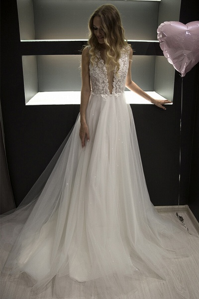 Chic V-neck Pearl Lace Tulle A-line Wedding Dress_4