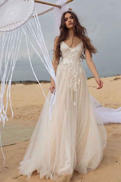 Awesome Spaghetti Strap Tulle A-line Wedding Dress_1