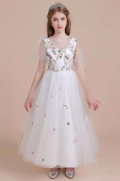 Short Sleeve Embroidered Tulle Flower Girl Dress_1