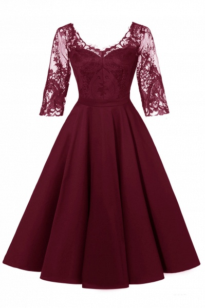 Retro Scoop neck  V-back Lace Dresses with Sleeves | A-line ruffles Burgundy Lace Cocktail Party Dresses_1