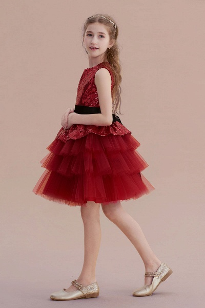 Tulle Sequins A-line Knee Length Flower Girl Dress_3