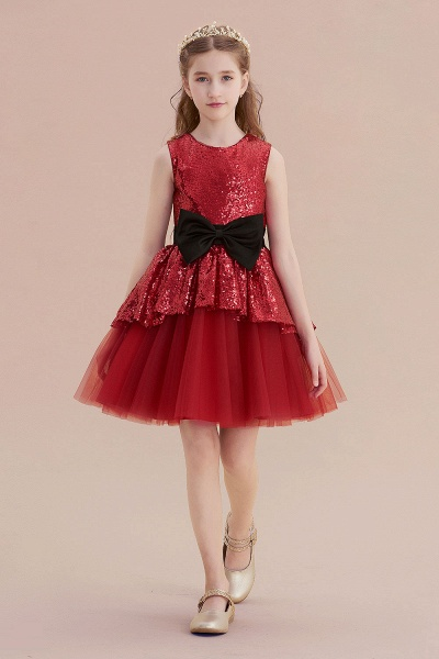 Bows Sequins Tulle A-line Flower Girl Dress_4