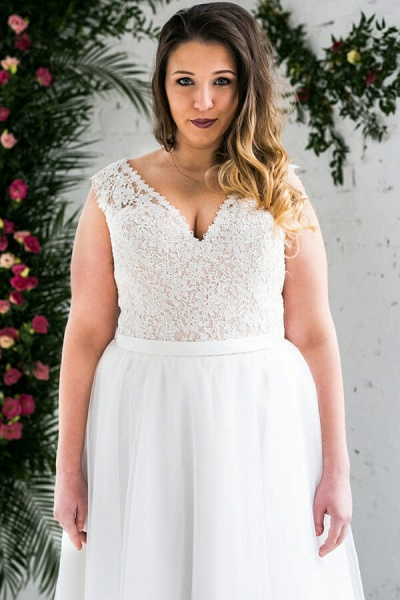Plus Size V-neck Lace Tulle A-line Wedding Dress_6