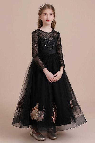 Embroidered Long Sleeve Tulle Flower Girl Dress_6
