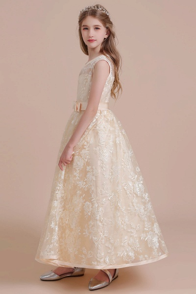 Amazing Lace Tulle A-line Flower Girl Dress_7