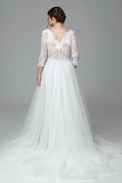 Plus Size Elegant Lace Tulle A-line Wedding Dress_3