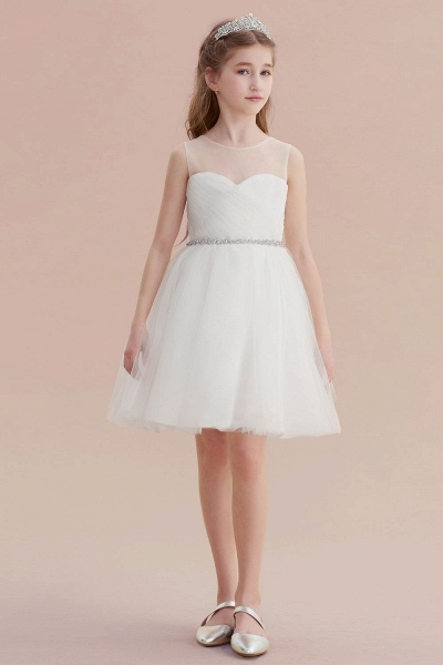Illusion Knee Length A-line Tulle Flower Girl Dress_5