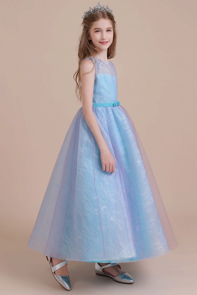 Illusion Lace Tulle A-line Flower Girl Dress_6