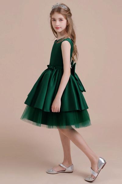 Bow Beading Satin Tulle A-line Flower Girl Dress_6
