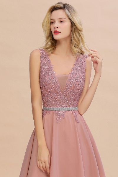 Cute Deep V-neck Short Homecoming Dress with Beaded Belt_14