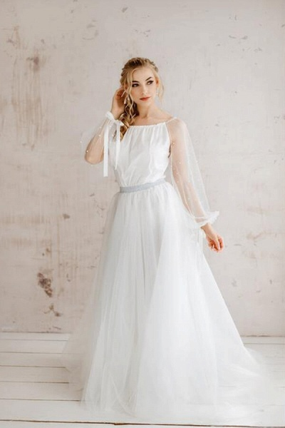Best Pearl Long Sleeve Tulle A-line Wedding Dress_1