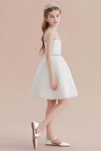 Illusion Knee Length A-line Tulle Flower Girl Dress_7