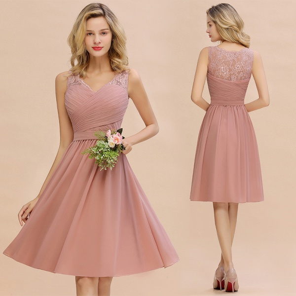 Lace V-neck Long Short Homecoming Dresses with Belt | Sexy Sleeveless V-back Pink Knee length Cocktail Dress_14