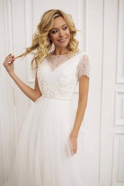 Short Sleeve Lace A-line Chiffon Wedding Dress_4