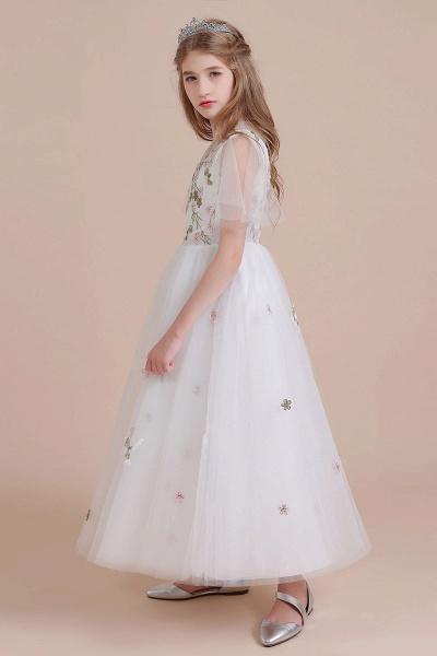 Short Sleeve Embroidered Tulle Flower Girl Dress_8