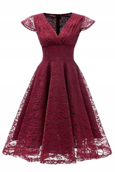 Retro Lace Cap Sleeves Dress Elegant Cocktail Party V-neck A Line Vintage Dress_2